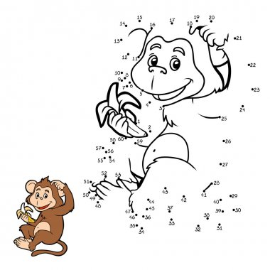 Numbers game: little monkey with a banana