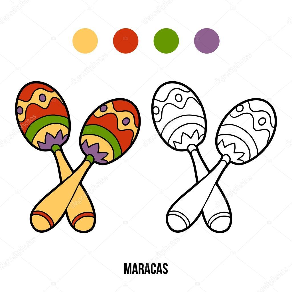 Libro Para Colorear Para Niños Instrumentos Musicales Maracas