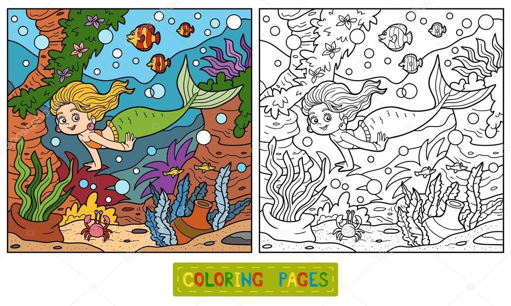 Libro de colorear: pequeño mundo sirena y mar — Vector de stock ...