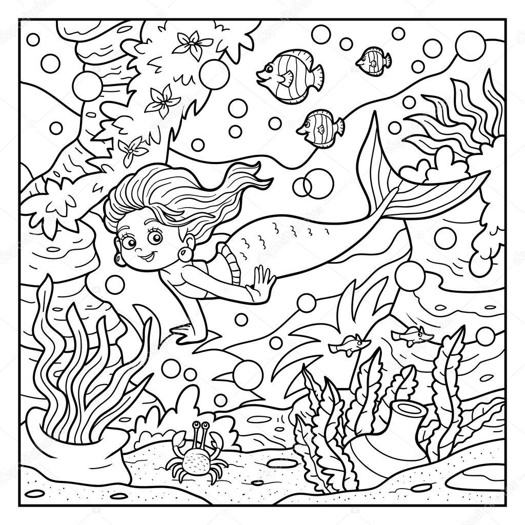 Libro de colorear: pequeño mundo sirena y mar — Archivo Imágenes ...