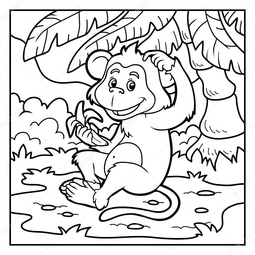 Coloring Book Little Monkey With A Banana Stock Vector