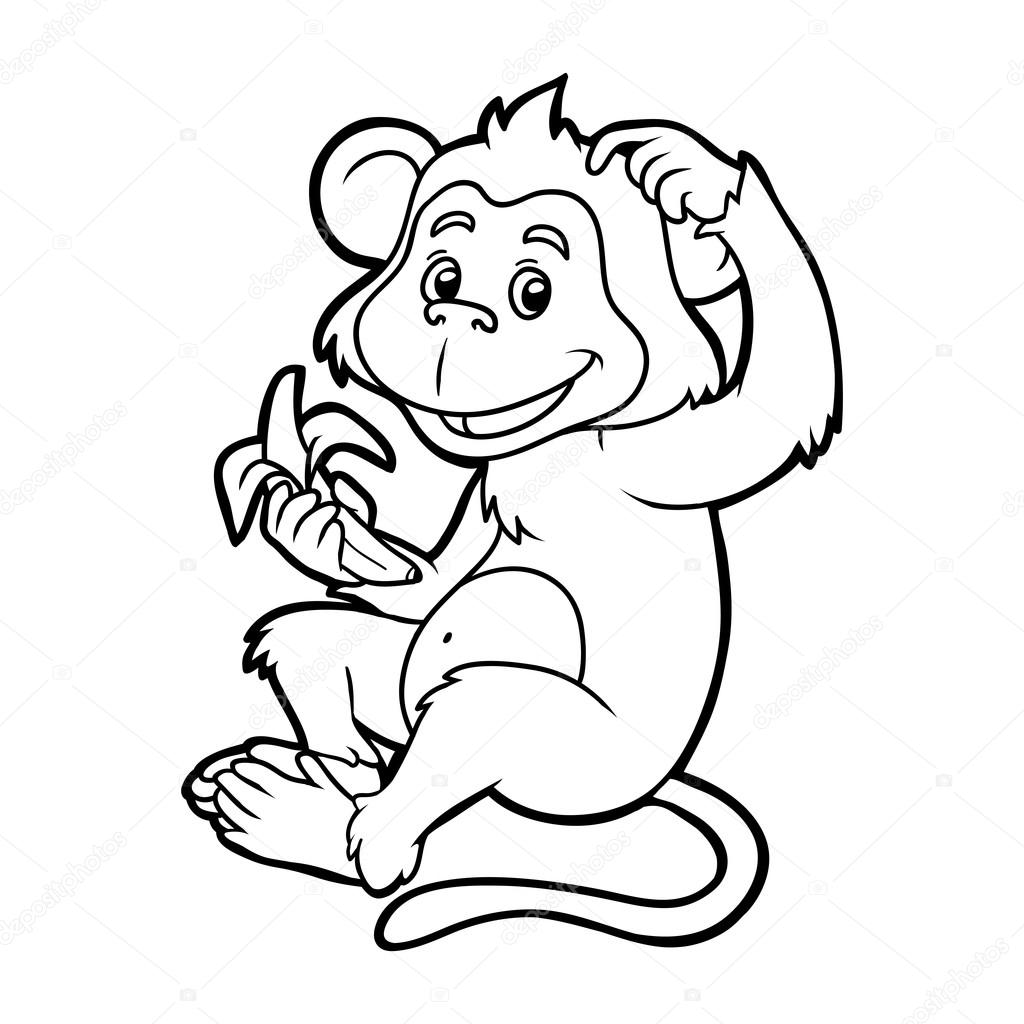 Coloring book for children: monkey — Stock Vector © ksenya_savva ...