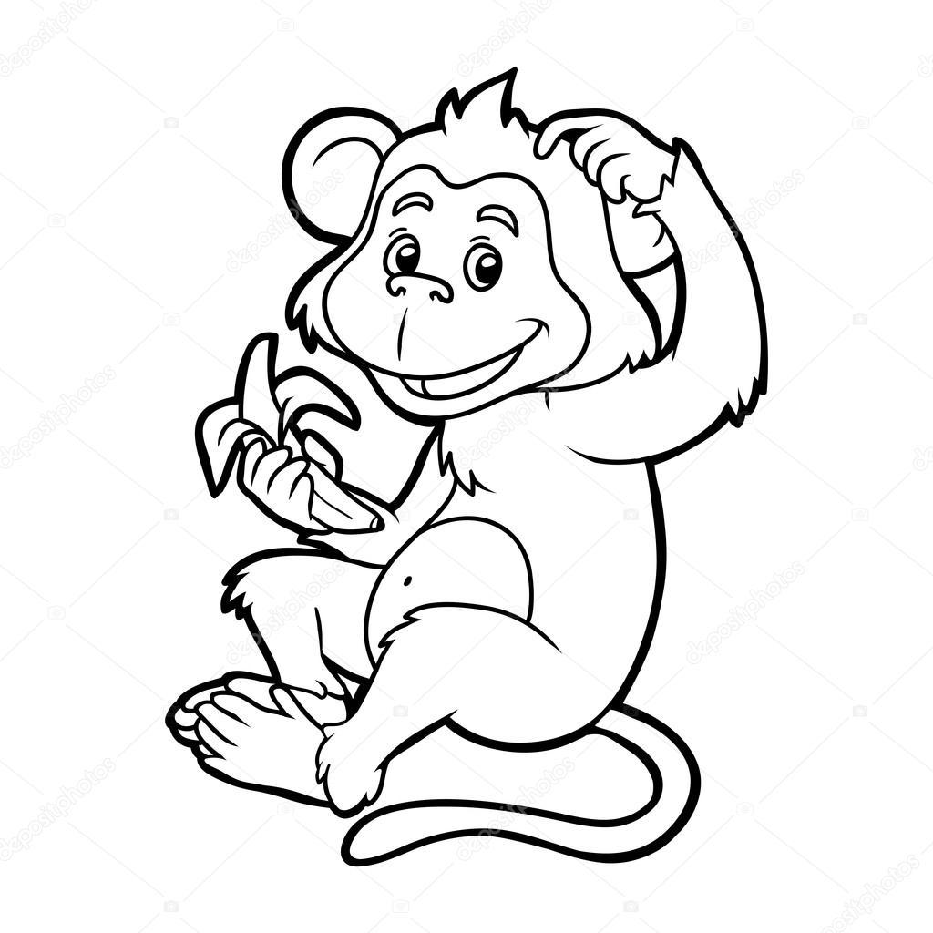Libro para colorear para niños: mono — Archivo Imágenes Vectoriales ...