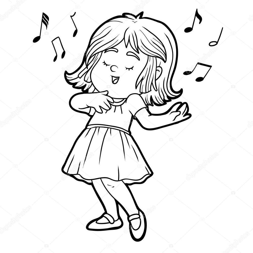 livro de colorir menina de vestido vermelho está cantando uma