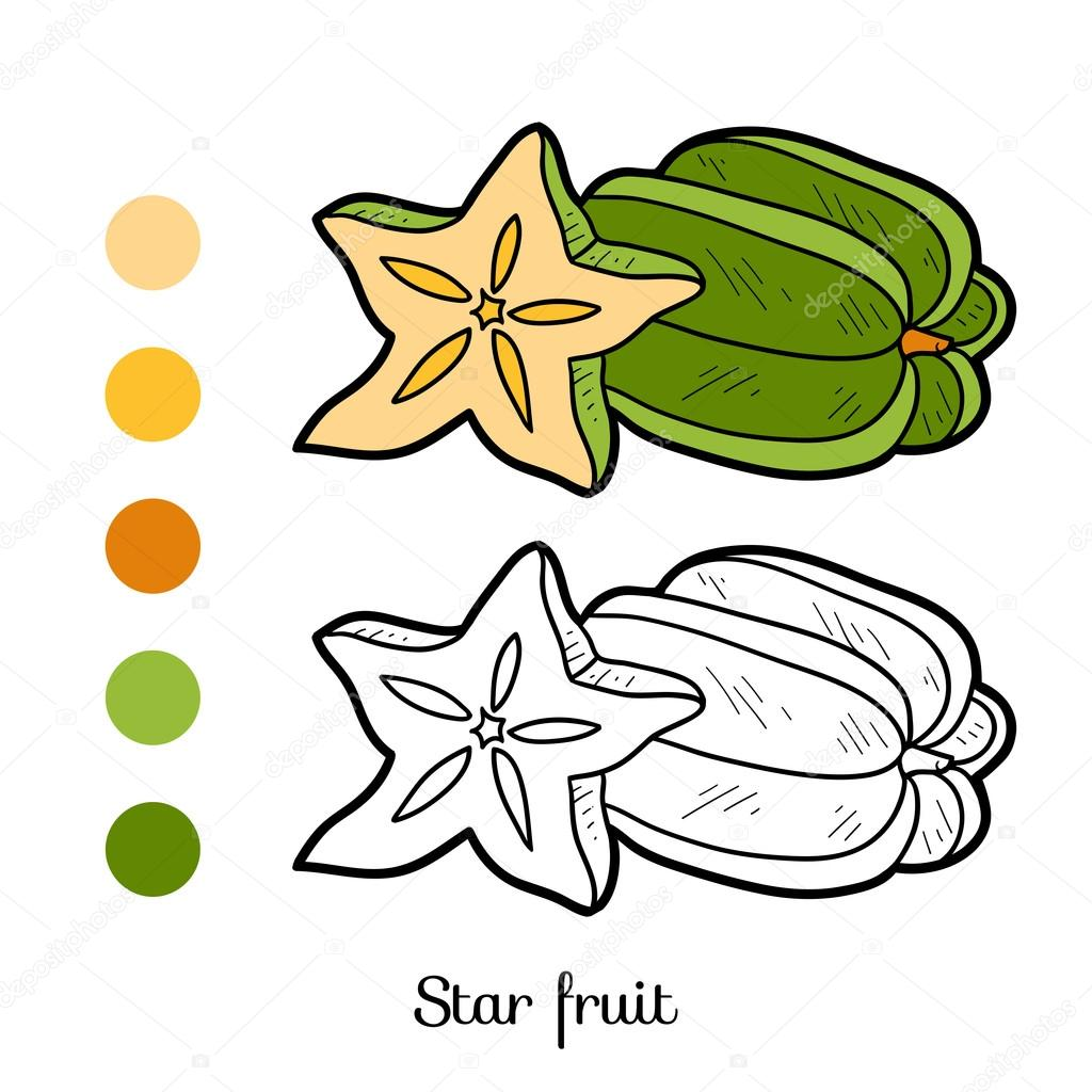 Coloring book: fruits and vegetables (star fruit)