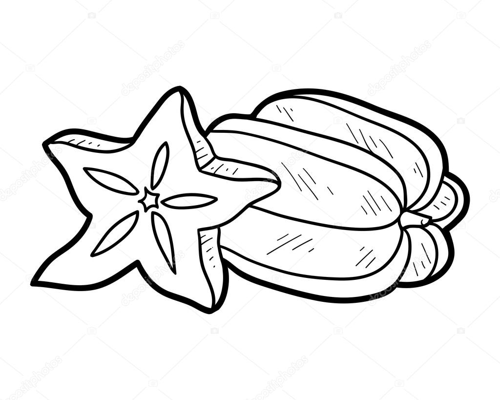 Star Fruit Clipart on Cartoon Fruit