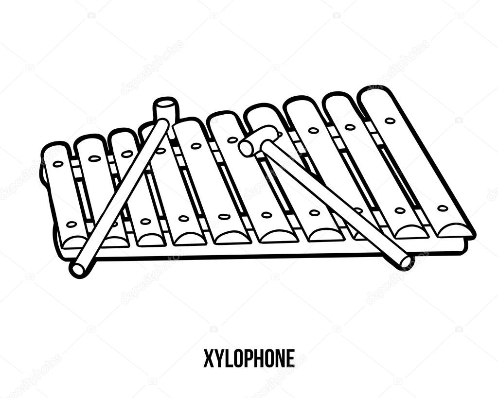 Coloring instruments - Coloring Book For Children Musical Instruments Xylophone Vector By Ksenya_savva