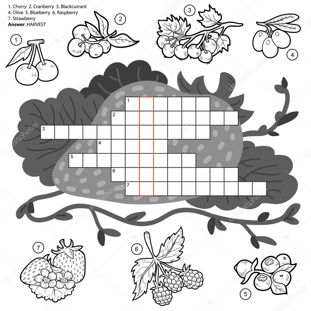 Vector colorless crossword, education game about berries