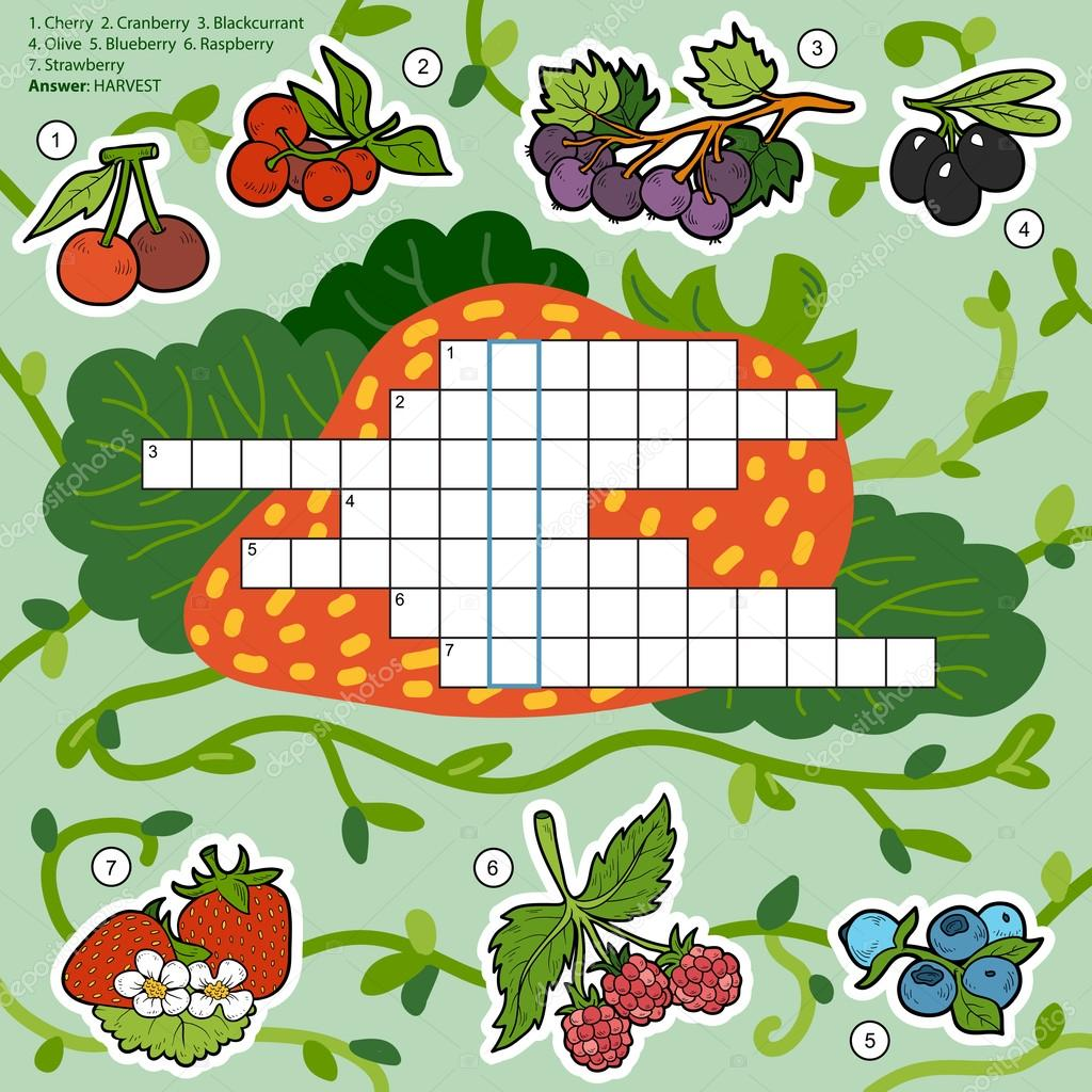 Vector color crossword, education game about berries
