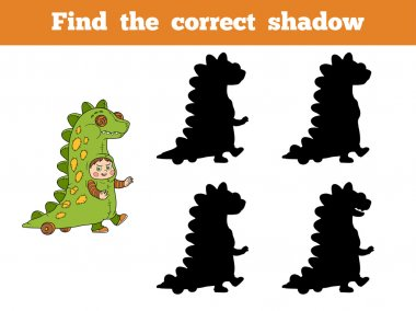 Find correct shadow: Halloween characters (dinosaur costume)