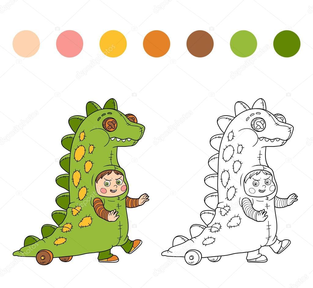 Coloring book: Halloween characters (dinosaur costume) — Stock ...