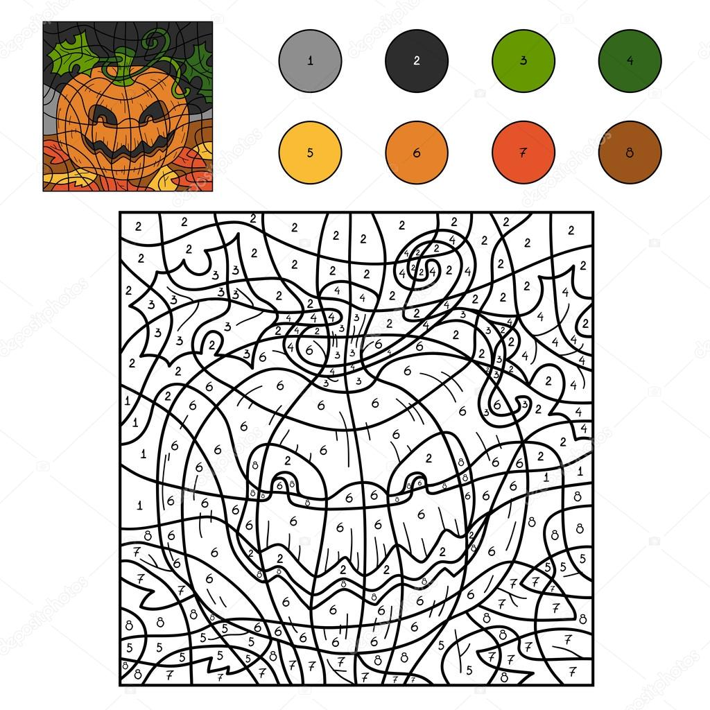 Color by numbers: Halloween pumpkin — Stock Vector © ksenya_savva ...