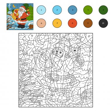 Color by numbers: Santa Claus and bell