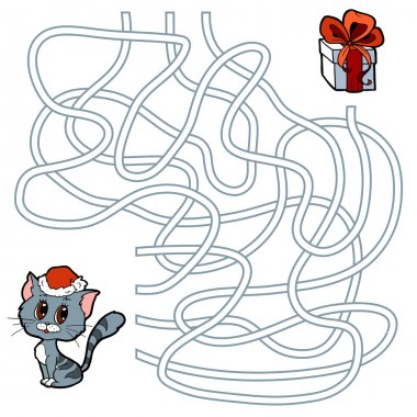 Maze game for children: cat and Christmas gift