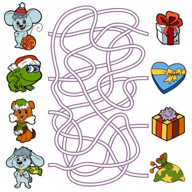 Maze game for children: little animals and Christmas gifts