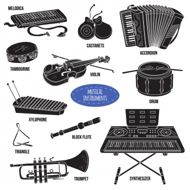 Shadow set with musical instruments, vector cartoon collection