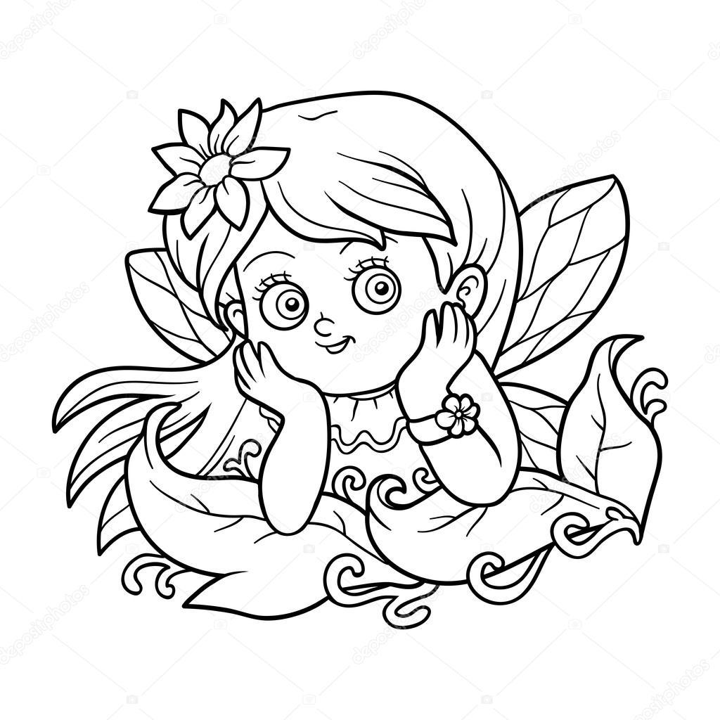 Libro para colorear para niños: pequeña hada — Archivo Imágenes ...