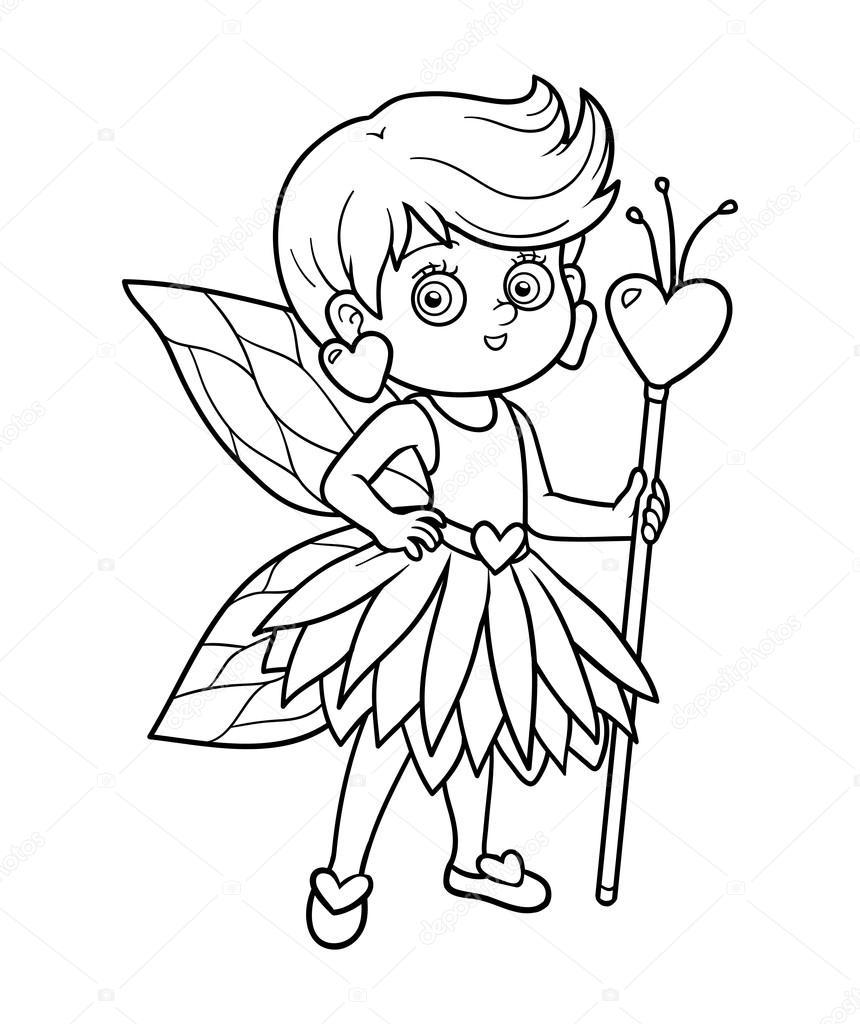 Libro para colorear para niños: pequeña hada — Vector de stock ...