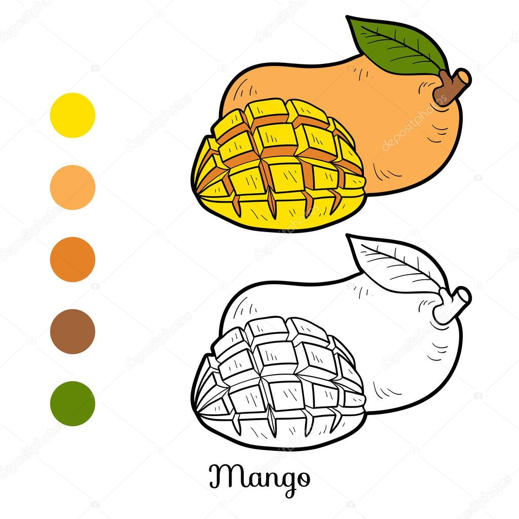 Coloring book for children: fruits and vegetables (mango)