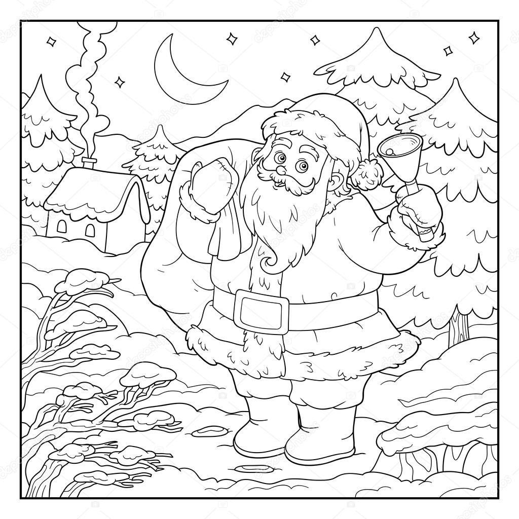 Libro de colorear, juego para niños: Papá Noel y campana — Archivo ...