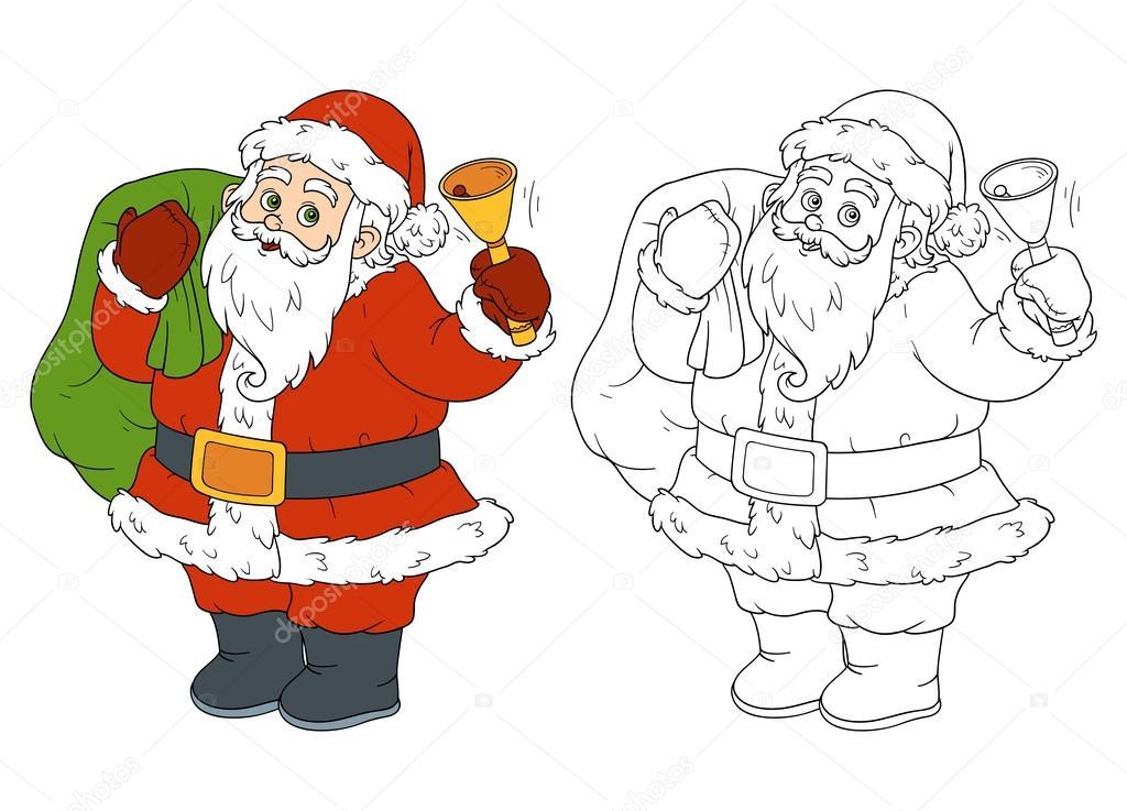 Libro para colorear para niños: Papá Noel y campana — Vector de ...