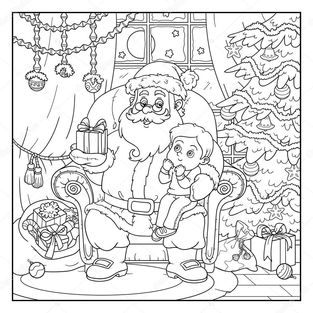 子供のための塗り絵 サンタ クロースの贈り物を与える小さな男の子