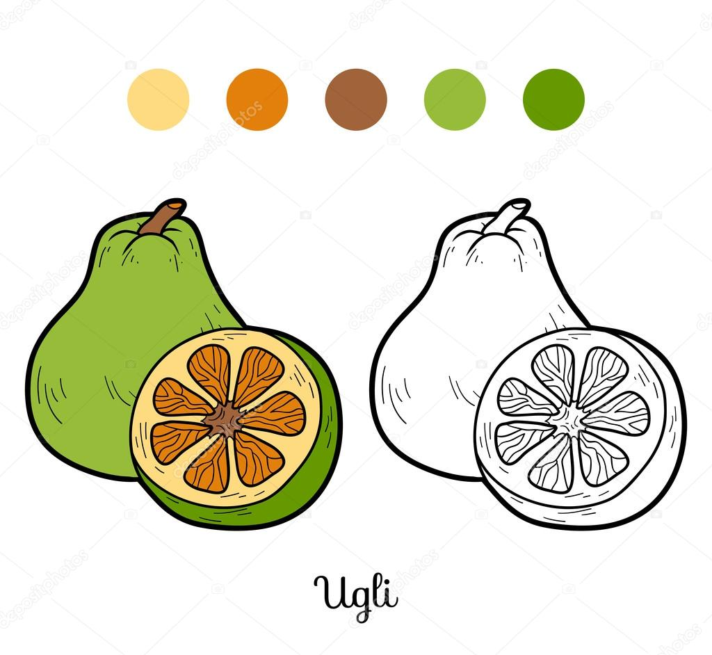 Coloring book for children: fruits and vegetables (ugli)