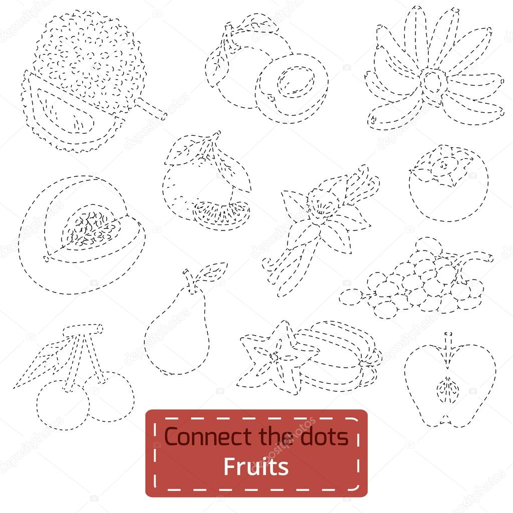 Connect the dots (tropical fruits set), education game