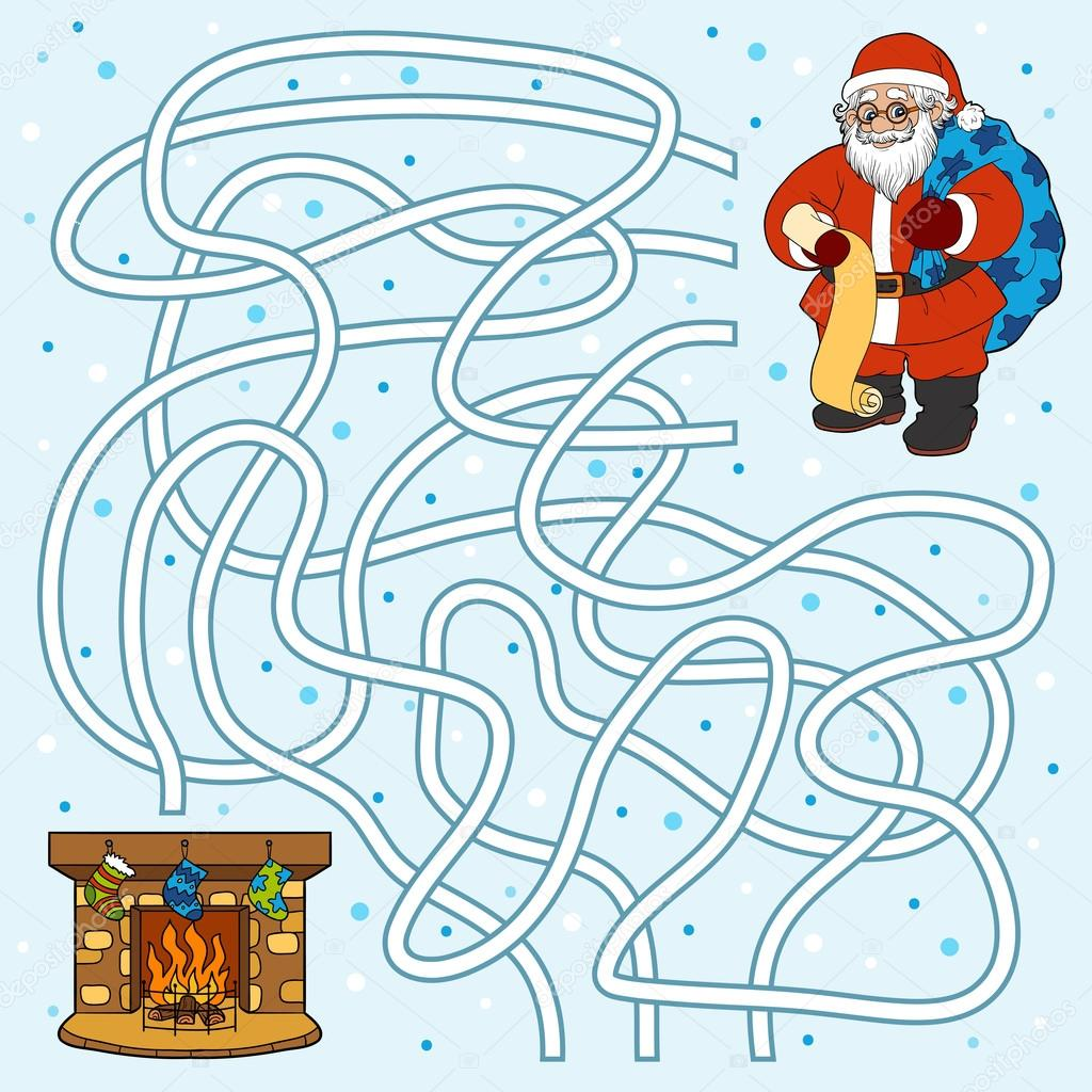 Maze game for children: Santa Claus and fireplace