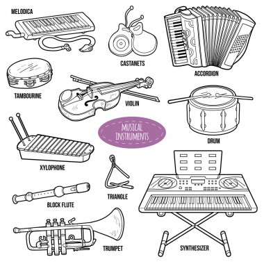 Colorless set with musical instruments, vector cartoon collectio