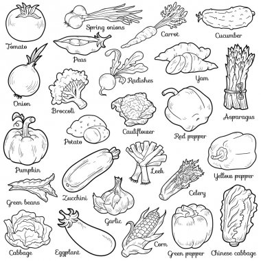 Colorless set with vegetables, vector cartoon stickers