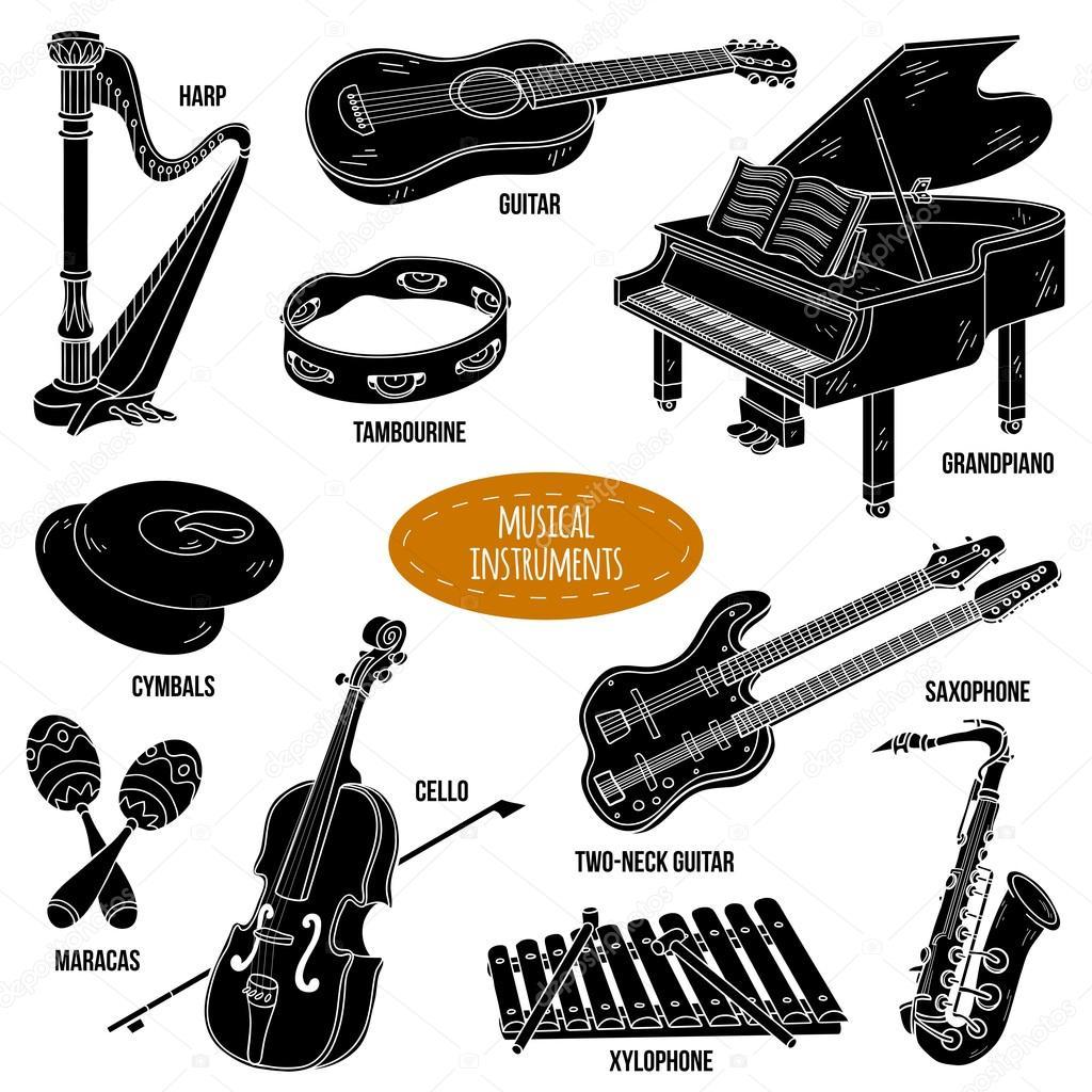 Sombra Defina Com Instrumentos Musicais, Coleção De