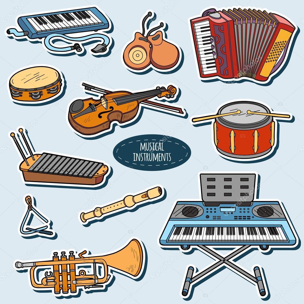Dibujos Instrumentos Musicales A Color Set Color Con Instrumentos