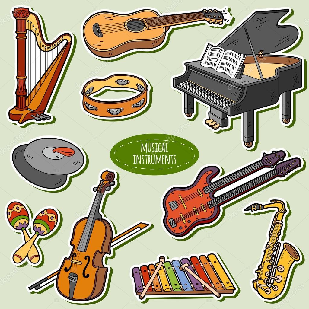 Jeu De Couleur Avec Instruments De Musique, Vector
