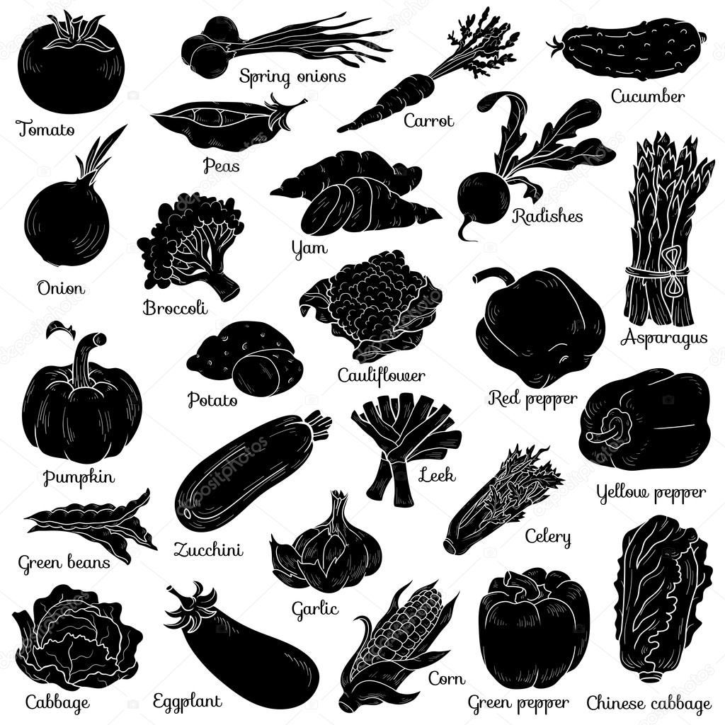 Shadow set with vegetables, vector cartoon stickers