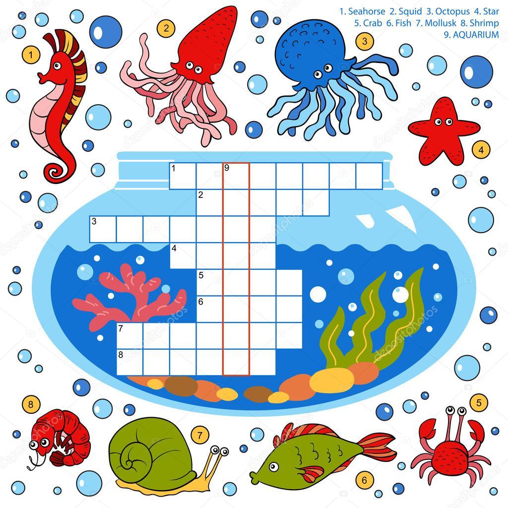 crucigrama de color vectorial educacin para nios sobre peces u vector de ksenyasavva