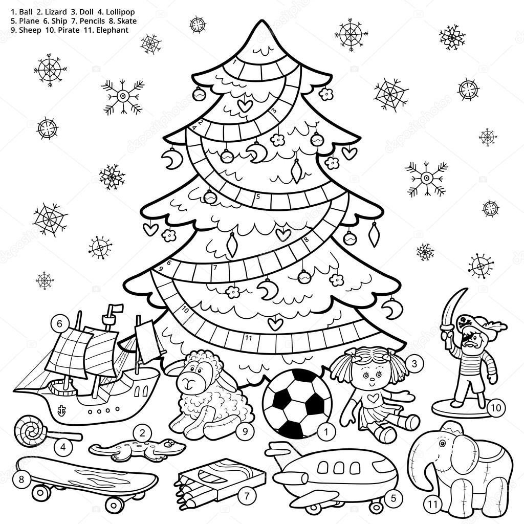 Vector crossword, education game for children about Christmas pr