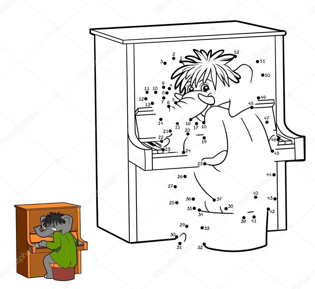 Zahlen-Spiele für Kinder: Elefant und Klavier — Stockvektor ...