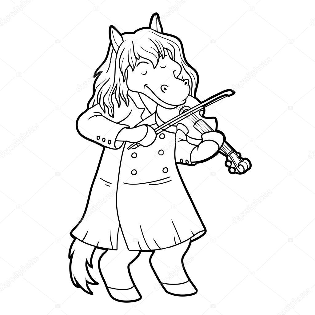 Libro para colorear para niños: caballo y violín — Vector de stock ...