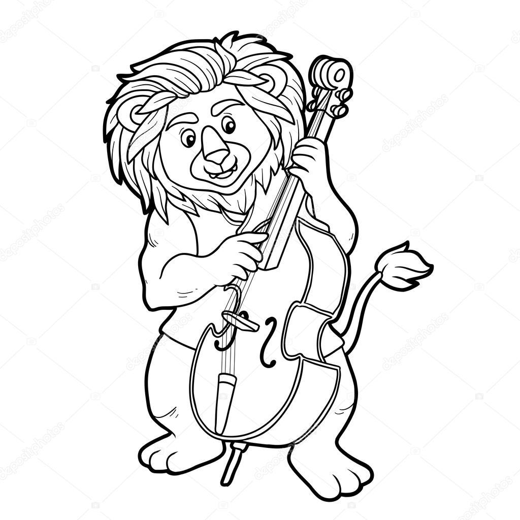 Libro para colorear para niños: León y violonchelo — Vector de stock ...