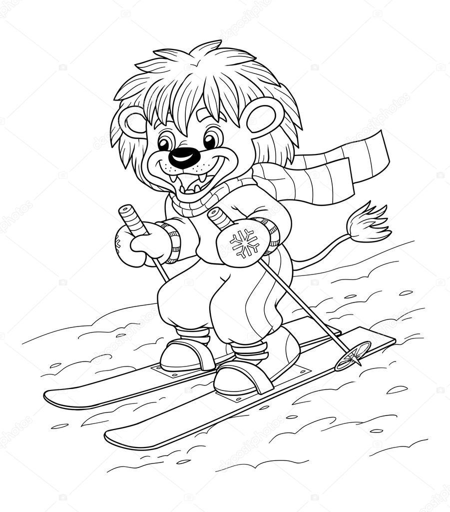çocuklar Için Boyama Kitabı Kayak Küçük Aslan Stok Vektör