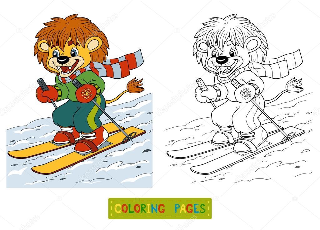 Libro para colorear para niños: pequeño León de esquí de fondo ...