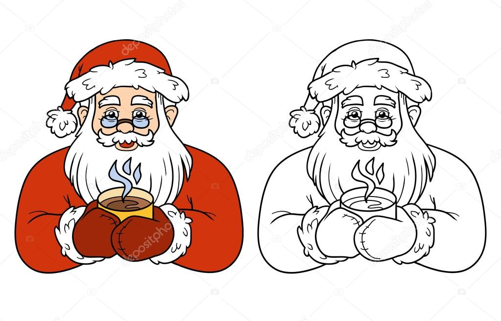 Coloring Book For Children Santa Claus And Tea Stock Vector