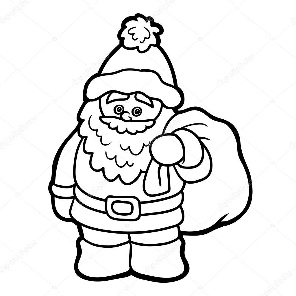 Libro para colorear para niños: Papá Noel — Archivo Imágenes ...