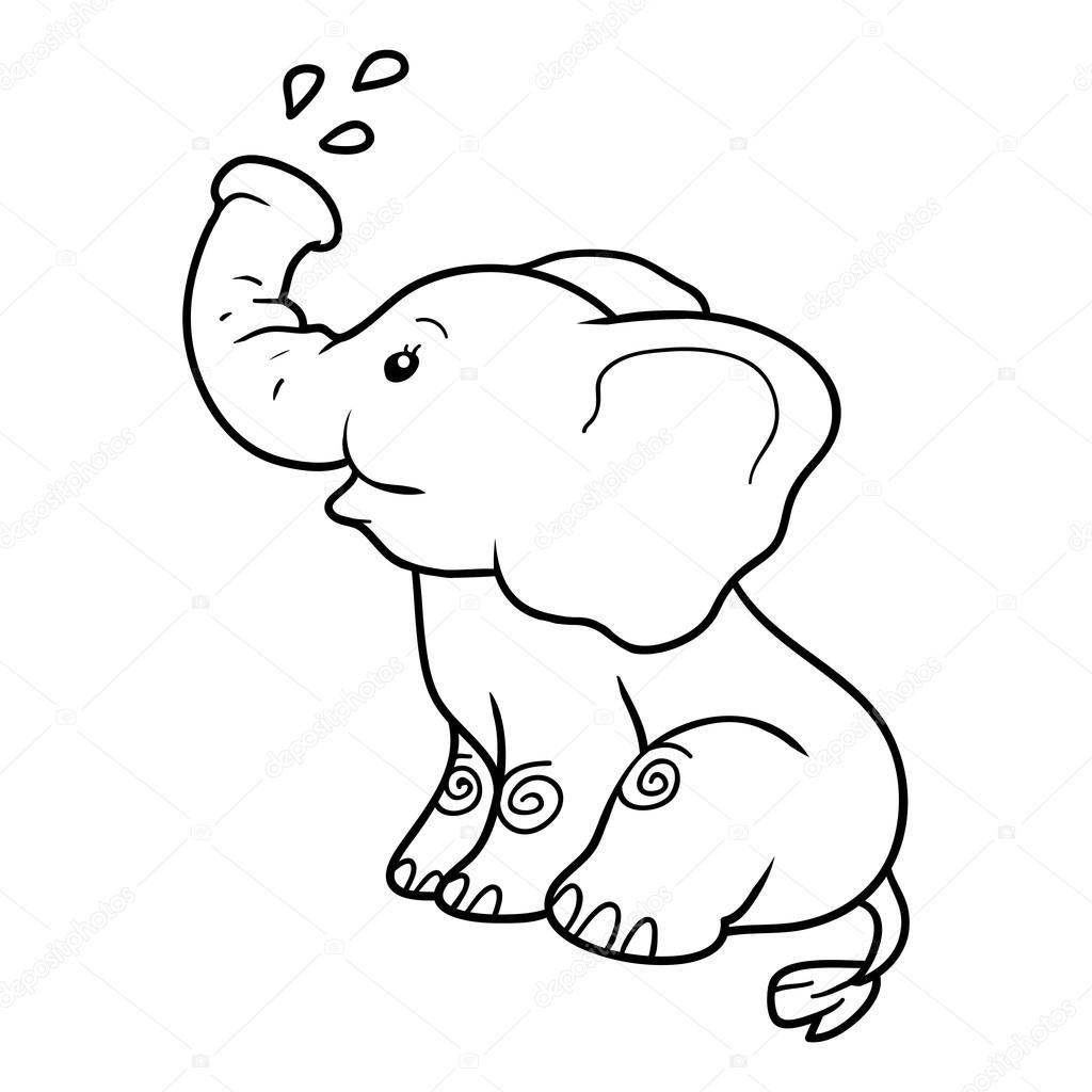 Libro para colorear para niños: elefante — Archivo Imágenes ...