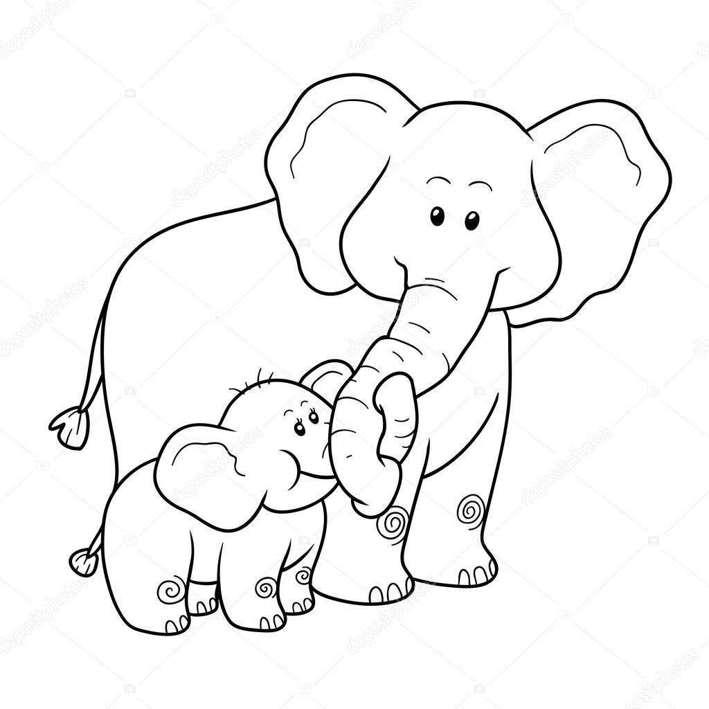 Coloriage Poisson Elephant.Livre De Coloriage Pour Les Enfants Elephants Image Vectorielle