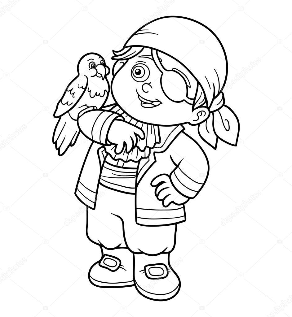Раскраска для детей (Пиратские мальчик) — Векторное ...