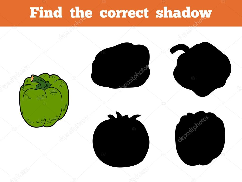 Find the correct shadow (green pepper)