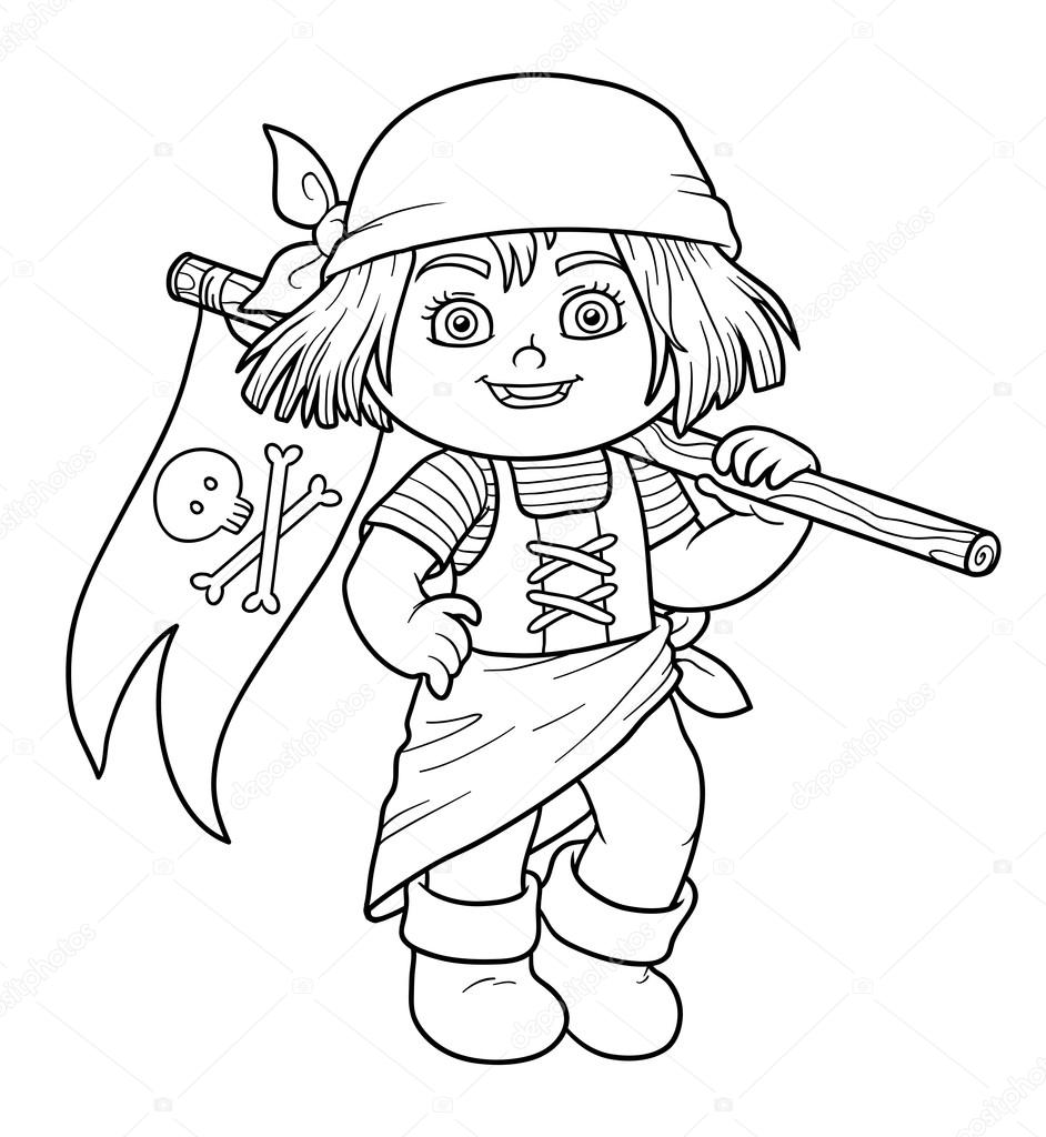 Coloring book for girl - Coloring Book For Children Pirate Girl And Flag Stock Illustration