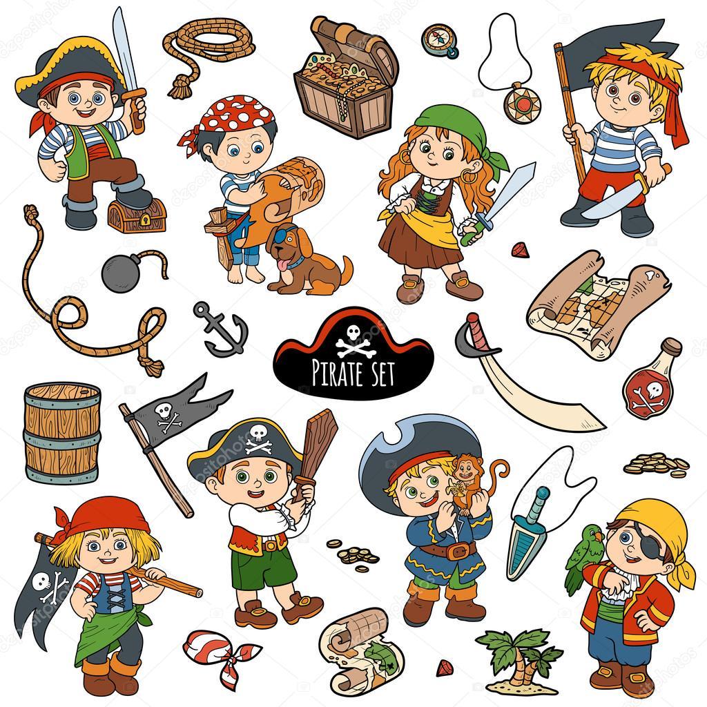 Conjunto de colores de vector de pirata y personajes de piratas ...